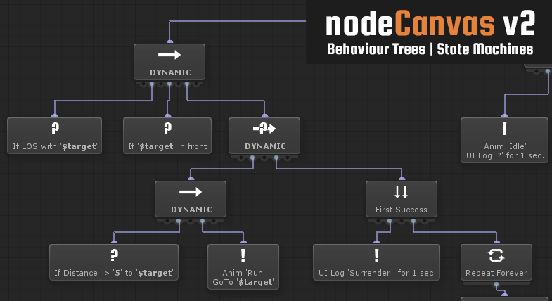 Connected nodes in a behaviour tree inside NodeCanvas